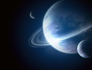 Fototapeta  galaktyka - planeta z pierścieniem