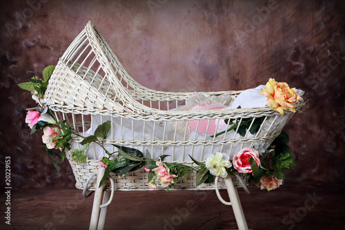 Flowered Antique Wicker Baby Bassinet Canvas Print