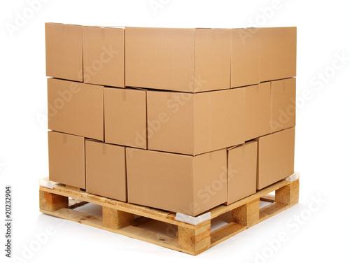 cardboard boxes on wooden palette Fototapeta