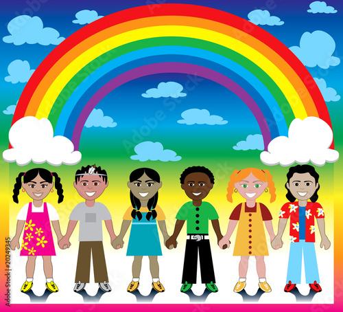 In de dag Regenboog Rainbow Background with Kids
