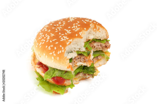 Fotografía  burger isolated on white background