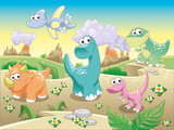 Fototapeta Dinusie - Dinosaurs with background.Cartoon and vector illustration.