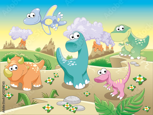 Spoed Fotobehang Dinosaurs Dinosaurs with background.Cartoon and vector illustration.