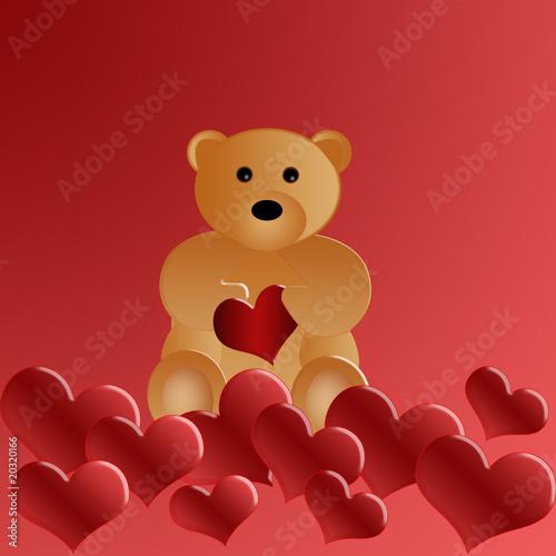 Foto-Lamellen (Lamellen ohne Schiene) - valentines day - Bear with heart (von maya)