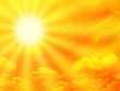Leinwanddruck Bild Orange sky and sunbeam