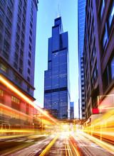 Willis Tower At Night Time