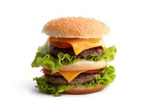 Big Fresh Delicious Homemade Double Hamburger