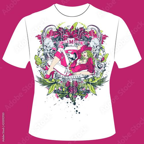 T-Shirt Print Pinup Girl Poster