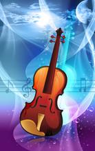 Illustration Of A Violin In Radiant Red Light