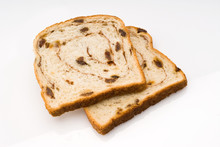 Two Slices Of Cinnamon Raisin Bread Isolated With Clipping Path
