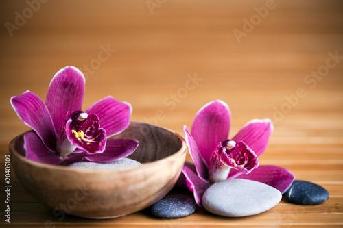 Foto op Canvas Zen Composition zen - fleurs orchidée et pierres