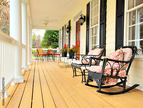 Front Porch of Traditional Home Canvas Print