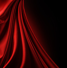 Red Satin Border.Isolated On B...