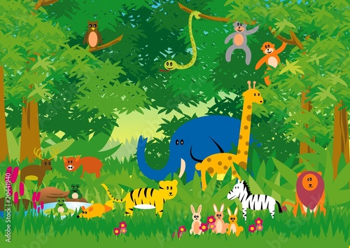 Foto op Canvas Bosdieren Jungle in Cartoon