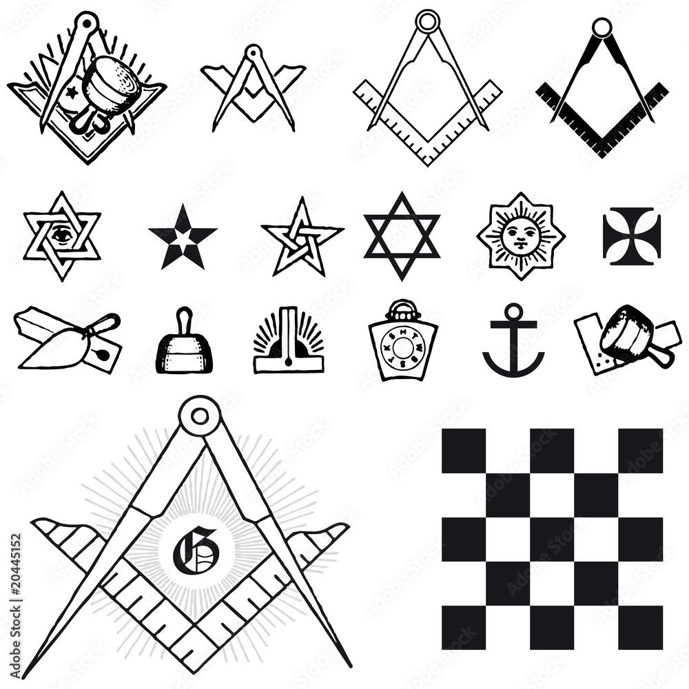 Valokuva  Set of symbol freemason masonic mason