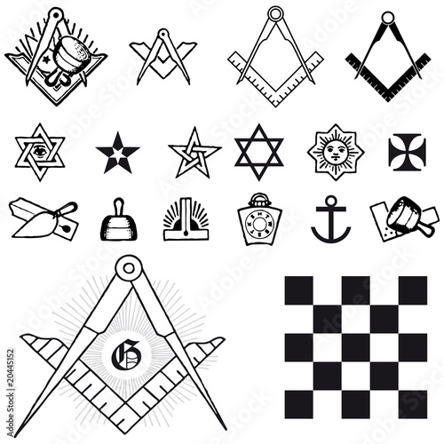 Photo  Set of symbol freemason masonic mason