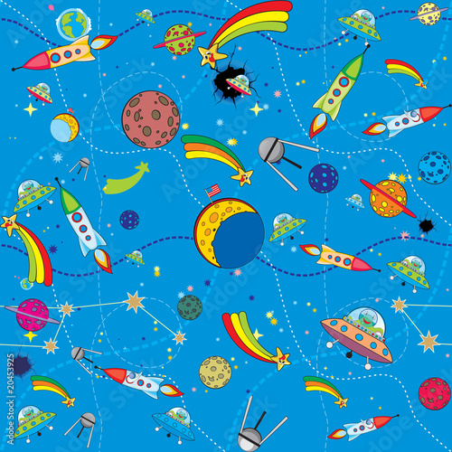 Foto op Canvas Kosmos similar space background with rockets and planets