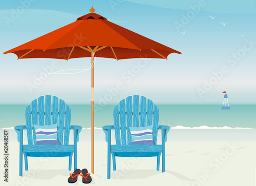 Adirondack Chairs at Beach - Buy this stock vector and explore ...