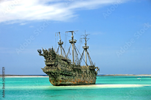 Deurstickers Schip Caribbean Pirate Ship