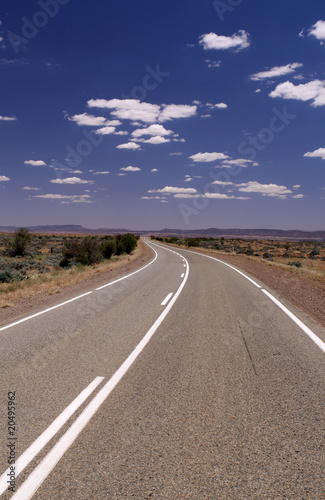 Poster Route 66 Empty Road in Outback. Australia