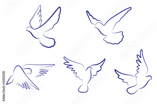 Carta da parati White doves