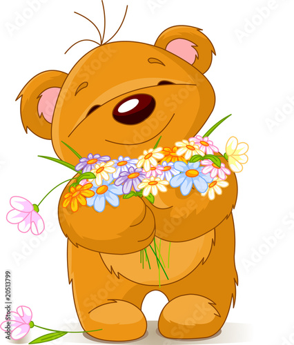 Teddy bear giving a bouquet #20513799