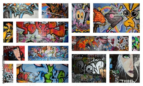 Stickers pour porte Graffiti collage think