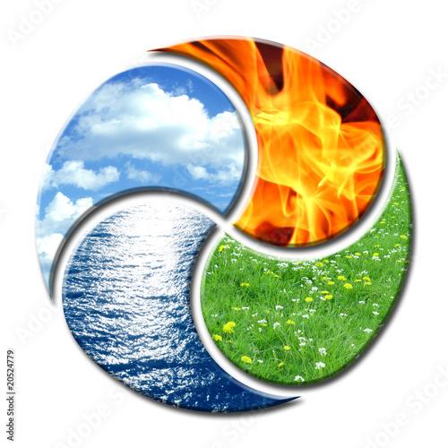 Cuadros en Lienzo  Vier Elemente wie Yin Yang