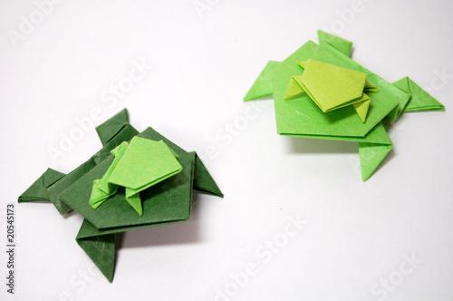 Tuinposter Kikker 和紙の折り紙、カエルの群れ