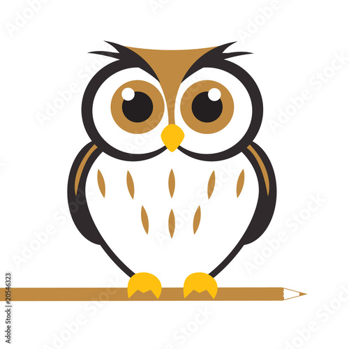 Deurstickers Uilen cartoon Vector Cute Owl