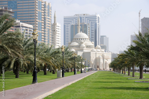 Tuinposter Midden Oosten Al Noor Mosque in Sharjah City, United Arab Emirates