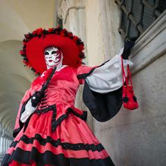 Read and Black Venice Carnival Mask