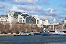 Charing Cross Station And Ships In The River Thames