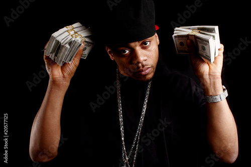 Fotografie, Obraz  young black male with bundles of cash