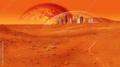 Foto auf Gartenposter Ziegel Mars Base