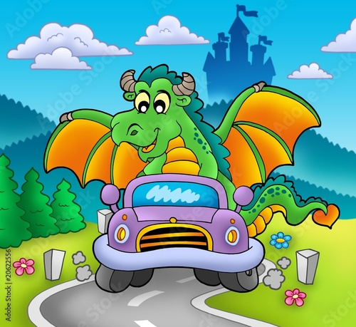 Green dragon driving car