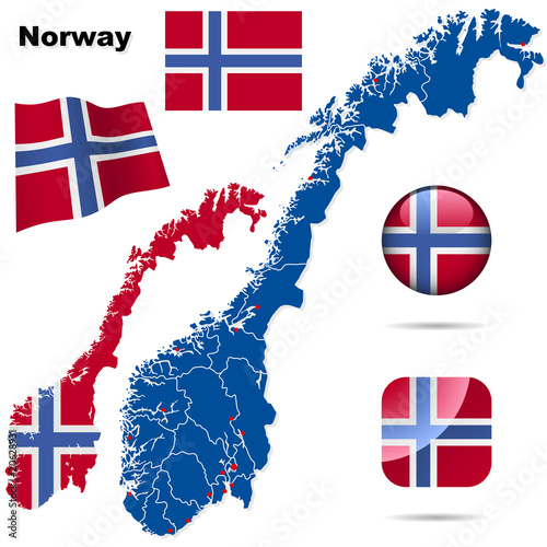 Photo  Norway vector set.  Shape, flags, icons.