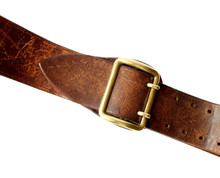 Old Leather Belt On White