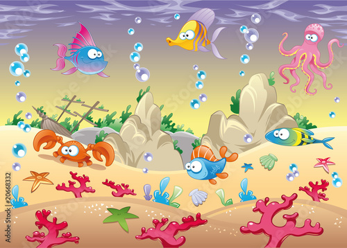 Family of marine animals in the sea. Vector illustration