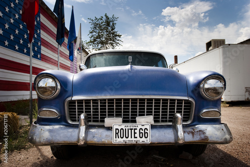 Spoed Foto op Canvas Route 66 Voiture et drapeau USA