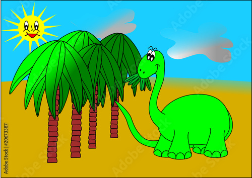 Spoed Foto op Canvas Dinosaurs Dinosaur and palm trees