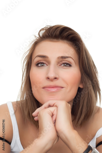 portrait of young beautiful happy woman with breast bands