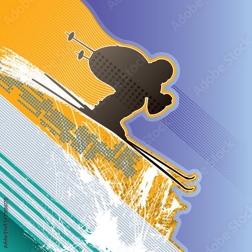 nowozytny-abstrakcjonistyczny-tlo-z-narciarka