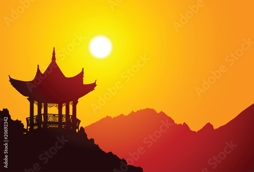Vector silhouette of a chinese pavilion #20692342
