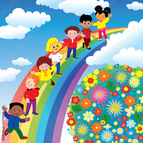 In de dag Regenboog Children on rainbow slide. Vector art-illustration.