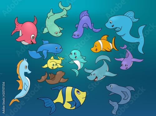 Recess Fitting Submarine Marine life surrounding small fish