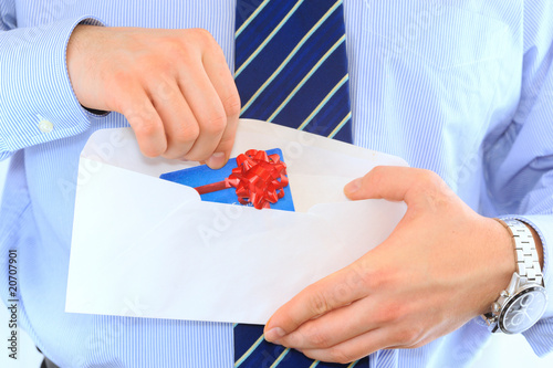 Businessman is sending a pre-approved credit card by mail Poster