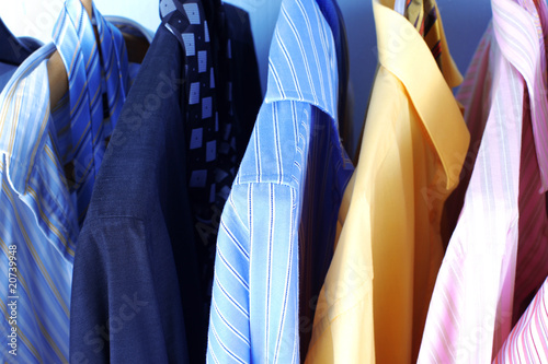 Photo sur Aluminium Aquarelle avec des feuilles tropicales Mix color Shirt and Tie on Hangers