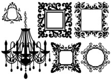 Picture Frames And Chandelier,...