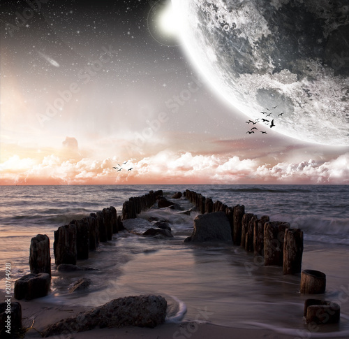 Spoed Foto op Canvas Cappuccino Planet landscape view from a beach
